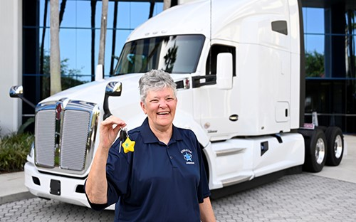 Cecilia Logan won a truck during the Landstar All-Star Truck Giveaway.